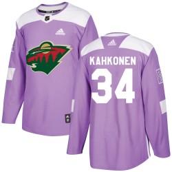 Kaapo Kahkonen Minnesota Wild Youth Adidas Authentic Purple Fights Cancer Practice Jersey