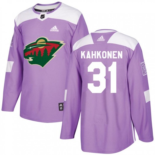 Kaapo Kahkonen Minnesota Wild Youth Adidas Authentic Purple Fights Cancer Practice Jersey