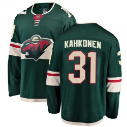 Kaapo Kahkonen Minnesota Wild Youth Fanatics Branded Green Breakaway Home Jersey