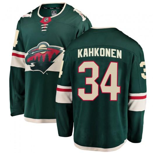 Kaapo Kahkonen Minnesota Wild Youth Fanatics Branded Green Breakaway Home Jersey