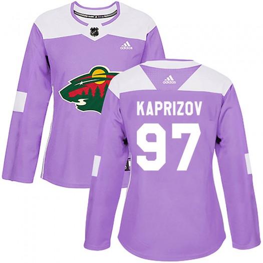 Kirill Kaprizov Minnesota Wild Women's Adidas Authentic Purple Fights Cancer Practice Jersey