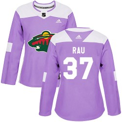Kyle Rau Minnesota Wild Women's Adidas Authentic Purple Fights Cancer Practice Jersey