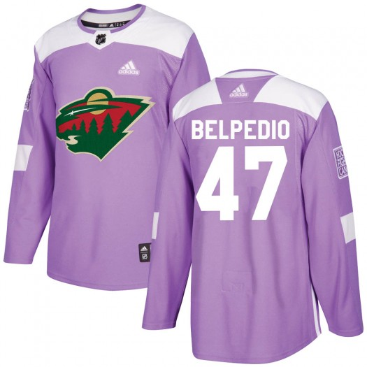 Louie Belpedio Minnesota Wild Men's Adidas Authentic Purple Fights Cancer Practice Jersey