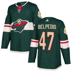 Louie Belpedio Minnesota Wild Youth Adidas Authentic Green Home Jersey