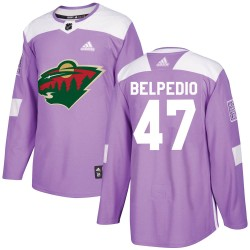 Louie Belpedio Minnesota Wild Youth Adidas Authentic Purple Fights Cancer Practice Jersey