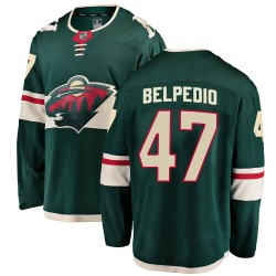 Louie Belpedio Minnesota Wild Youth Fanatics Branded Green Breakaway Home Jersey