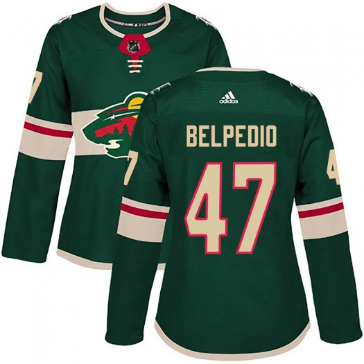 Louis Belpedio Minnesota Wild Women's Adidas Authentic Green Home Jersey
