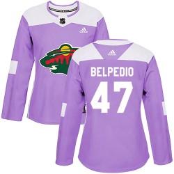 Louis Belpedio Minnesota Wild Women's Adidas Authentic Purple Fights Cancer Practice Jersey