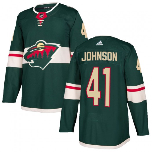 Luke Johnson Minnesota Wild Men's Adidas Authentic Green ized Home Jersey