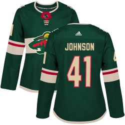 Luke Johnson Minnesota Wild Women's Adidas Authentic Green ized Home Jersey