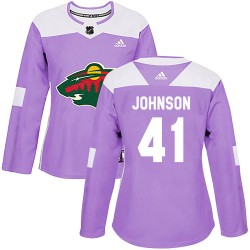Luke Johnson Minnesota Wild Women's Adidas Authentic Purple ized Fights Cancer Practice Jersey