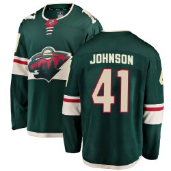 Luke Johnson Minnesota Wild Youth Fanatics Branded Green ized Breakaway Home Jersey