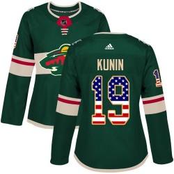 Luke Kunin Minnesota Wild Women's Adidas Authentic Green USA Flag Fashion Jersey