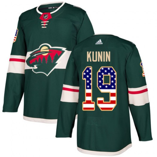 Luke Kunin Minnesota Wild Youth Adidas Authentic Green USA Flag Fashion Jersey