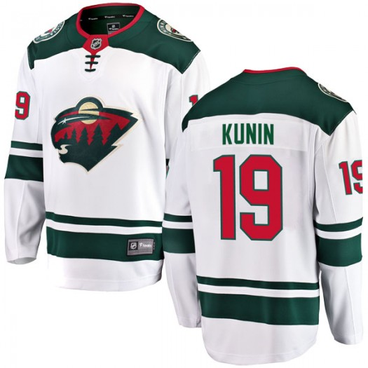 Luke Kunin Minnesota Wild Youth Fanatics Branded White Breakaway Away Jersey