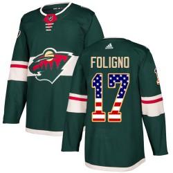 Marcus Foligno Minnesota Wild Men's Adidas Authentic Green USA Flag Fashion Jersey