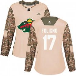Marcus Foligno Minnesota Wild Women's Adidas Authentic Camo Veterans Day Practice Jersey