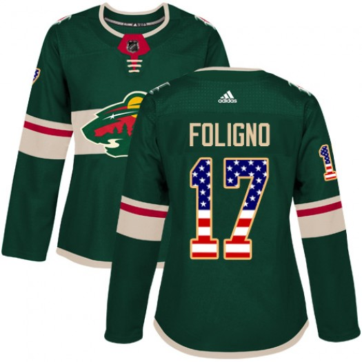 Marcus Foligno Minnesota Wild Women's Adidas Authentic Green USA Flag Fashion Jersey