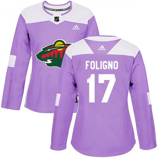 Marcus Foligno Minnesota Wild Women's Adidas Authentic Purple Fights Cancer Practice Jersey