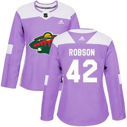 Mat Robson Minnesota Wild Women's Adidas Authentic Purple ized Fights Cancer Practice Jersey