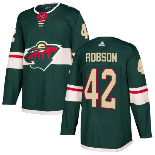 Mat Robson Minnesota Wild Youth Adidas Authentic Green ized Home Jersey