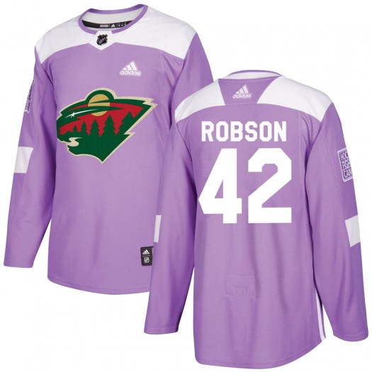 Mat Robson Minnesota Wild Youth Adidas Authentic Purple ized Fights Cancer Practice Jersey