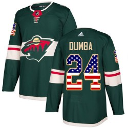 Matt Dumba Minnesota Wild Youth Adidas Authentic Green USA Flag Fashion Jersey