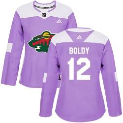 Matthew Boldy Minnesota Wild Women's Adidas Authentic Purple Fights Cancer Practice Jersey