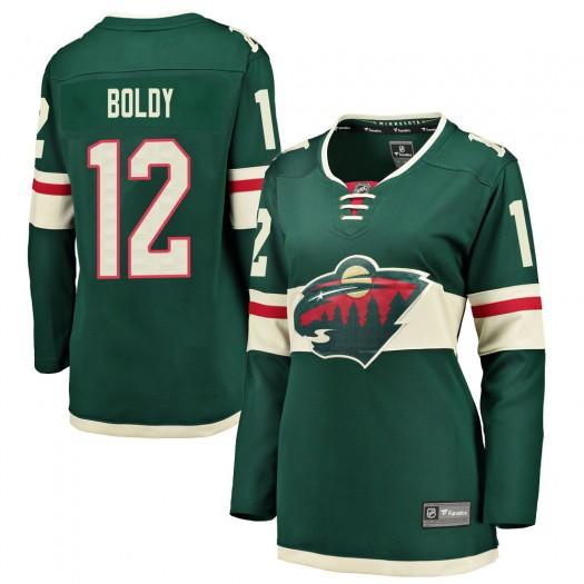 Matthew Boldy Minnesota Wild Women's Fanatics Branded Green Breakaway Home Jersey