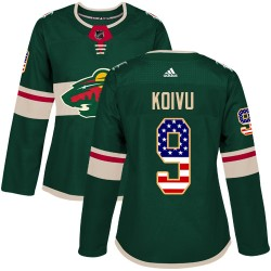 Mikko Koivu Minnesota Wild Women's Adidas Authentic Green USA Flag Fashion Jersey