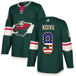 Mikko Koivu Minnesota Wild Youth Adidas Authentic Green USA Flag Fashion Jersey