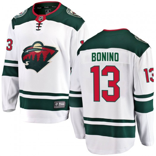 Nick Bonino Minnesota Wild Men's Fanatics Branded White Breakaway Away Jersey