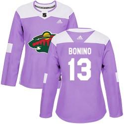 Nick Bonino Minnesota Wild Women's Adidas Authentic Purple Fights Cancer Practice Jersey