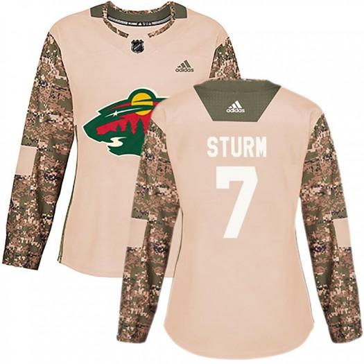 Nico Sturm Minnesota Wild Women's Adidas Authentic Camo Veterans Day Practice Jersey