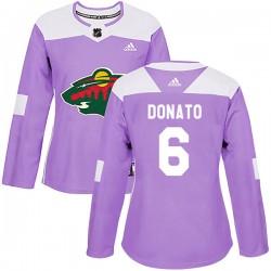 Ryan Donato Minnesota Wild Women's Adidas Authentic Purple Fights Cancer Practice Jersey