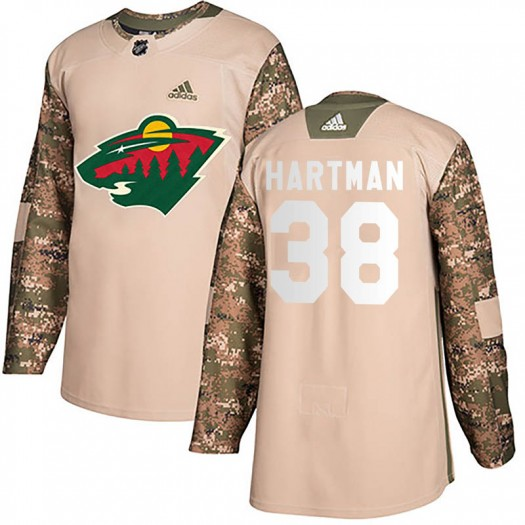 Ryan Hartman Minnesota Wild Men's Adidas Authentic Camo Veterans Day Practice Jersey