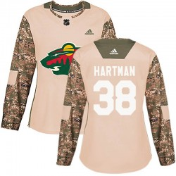 Ryan Hartman Minnesota Wild Women's Adidas Authentic Camo Veterans Day Practice Jersey