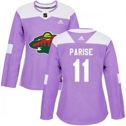 Zach Parise Minnesota Wild Women's Adidas Authentic Purple Fights Cancer Practice Jersey