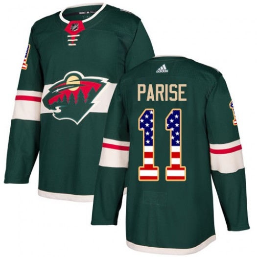 Zach Parise Minnesota Wild Youth Adidas Authentic Green USA Flag Fashion Jersey