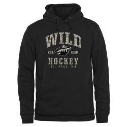 Minnesota Wild Men's Black Camo Stack Pullover Hoodie