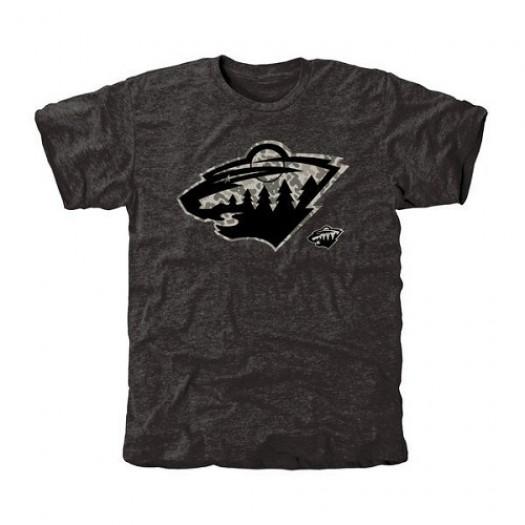 Minnesota Wild Men's Black Rink Warrior Tri-Blend T-Shirt