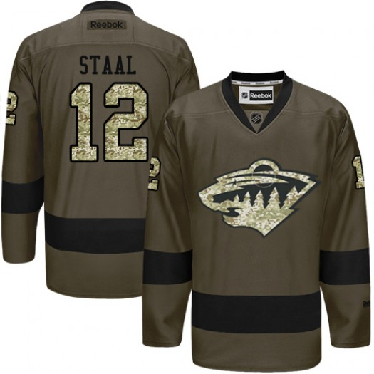 Eric Staal Minnesota Wild Men's Reebok Premier Green Salute to Service Jersey